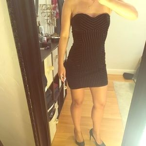 Little black velvet-striped dress